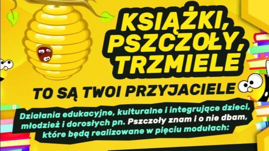 Plakat przedstawiający gniazdo pszczół i kolorowe książki