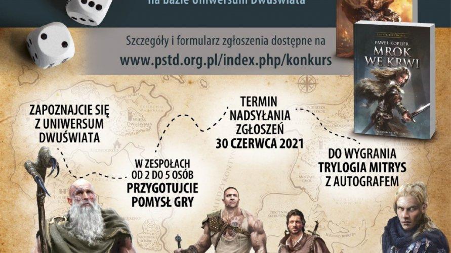 Grafika przedstawia kostki do gry, postaci bohaterów oraz tekst ze szczegółami konkursu