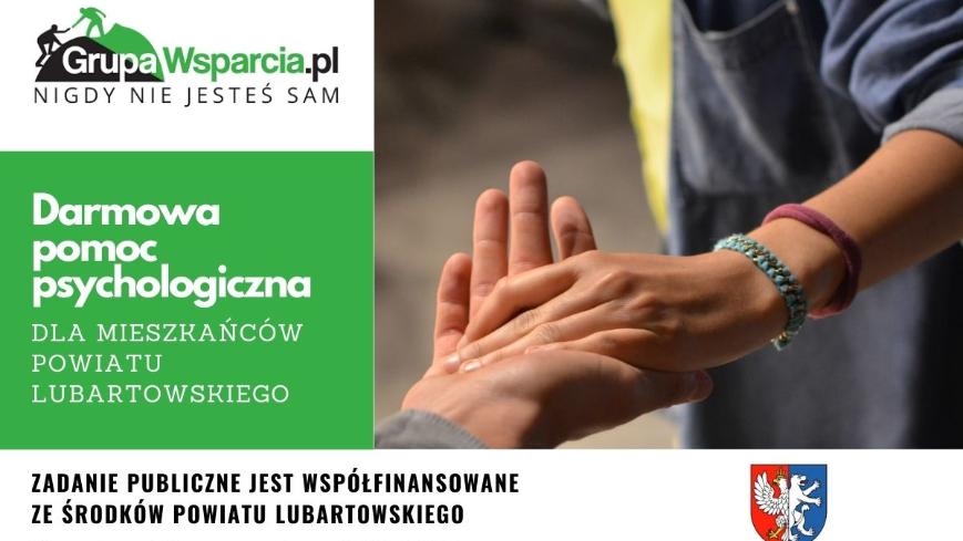 Plakat przedstawiający min. zdjęcie chwytających się dłoni oraz tekst ze szczegółami projektu