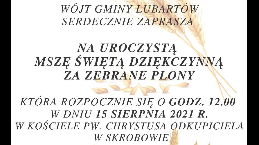 Grafika przedstawia złoto-żółte kłosy zboża oraz tekst opisujący szczegóły uroczystości