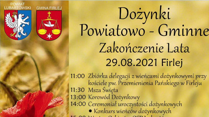 Grafika przedstawia treść zaproszenia oraz program dożynek na złotym tle. Po lewej stronie czerwony mak oraz łany zbóż.