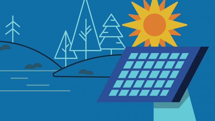 Grafika przedstawia rysunkowe słońce, panele słoneczne oraz drzewa
