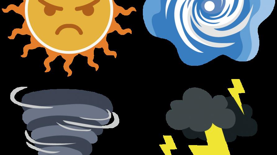 Grafika przedstawia ikonki pogodowe m.in. słońce, burzę