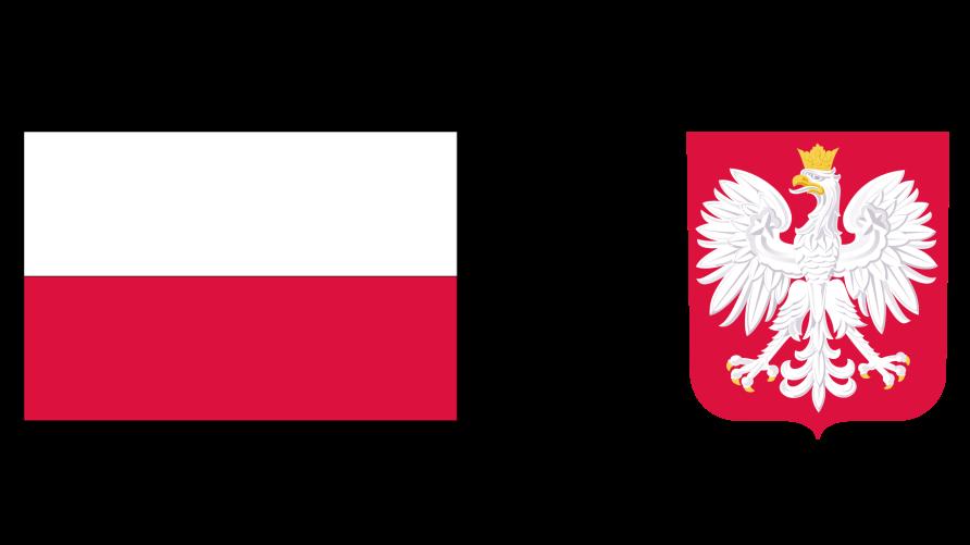 Grafika przedstawia flagę i godło Polski