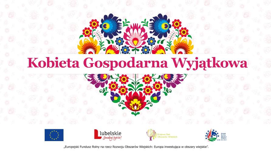Grafika przedstawia serce z kwiatów i napisem Kobieta Gospodarna Wyjątkowa
