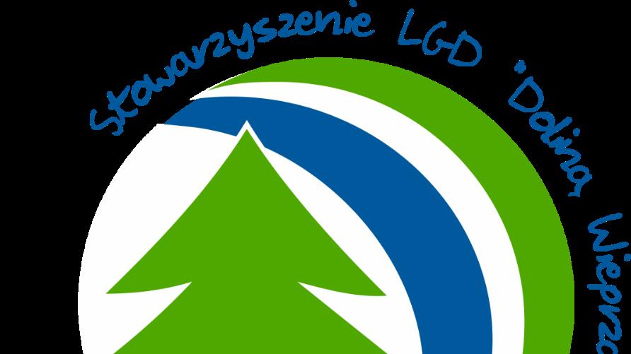 """Grafika przedstawia logo LGD """"Doliną Wieprza i Leśnym Szlakiem"""". Jest to min. zielona choinka i treść z nazwą stowarzyszenia."""