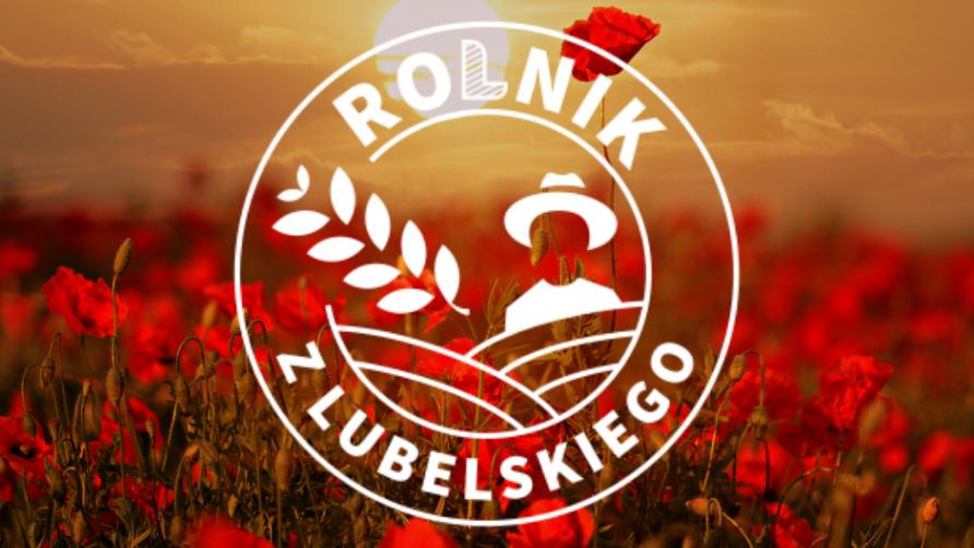 Grafika przedstawia łąkę z czerwonymi kwiatami i napis Rolnik z Lubelskiego 2021